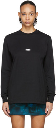 MSGM Black Micro Logo Long Sleeve T-Shirt