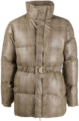 Rains Checkered Belted Puffer Jacket