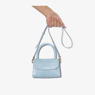 BY FAR Blue lizard-effect leather mini tote bag
