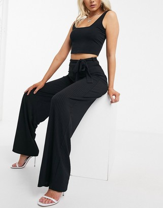 I SAW IT FIRST wide leg trousers with tie waist in black