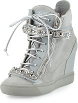 Giuseppe Zanotti Tiana Crystal High-Top Wedge Sneaker, Gray