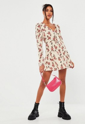 Missguided White Floral Puff Sleeve Button Tea Dress