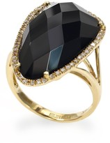 Effy Jewelry 14K Yellow Gold Onyx and Diamond Ring, 11.50 TCW