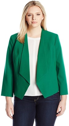Nine West Women's Plus Size Framed Open JKT