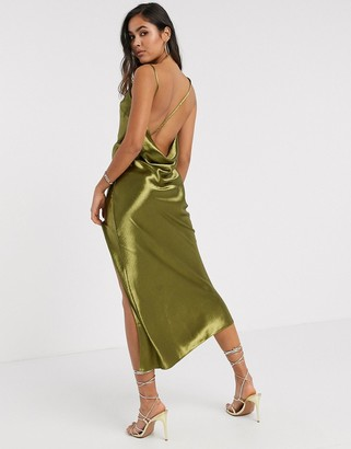 ASOS DESIGN cowl back strappy drape midaxi in olive