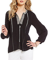 Chelsea & Theodore Embroidered Split V-Neck Blouse