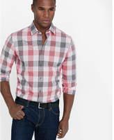 Express fitted screen plaid dress shirt