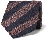 Dunhill 8cm Striped Mulberry Silk Tie - Red