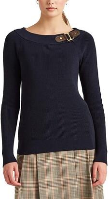 Lauren Ralph Lauren Cotton Ballet-Neck Sweater (Lauren Navy) Women's Clothing