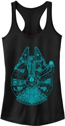 Disney Juniors' Star Wars Blue Millennium Falcon Blue Print Ideal Racerback Tank