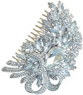 Sindary Jewelry Sindary Wedding Headpiece 4.13 Inch Silver-tone Clear Rhinestone Crystal Flower Hair Comb