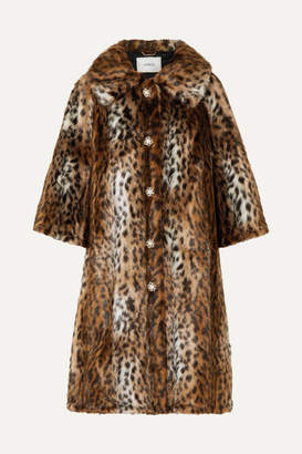 Erdem Sorayah Embellished Leopard-print Faux Fur Coat - Leopard print