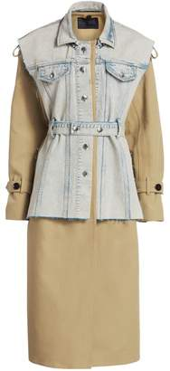 Proenza Schouler Trench Coat with Removable Belted Denim Vest