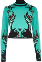 River Island Womens Turquoise intarsia knit turtleneck crop top