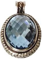 David Yurman Signature Large Oval Blue Topaz & Diamond Enhancer Pendant