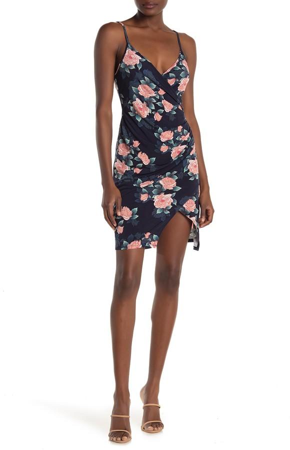 BCBGeneration Floral Faux Wrap Mini Dress