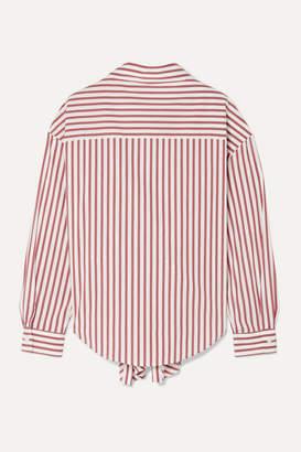 Rosie Assoulin Reversible Tie-front Striped Cotton-blend Poplin Shirt - White