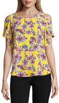 BY AND BY by&by Short Sleeve Round Neck Crepe Blouse-Juniors