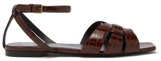 Saint Laurent Tribute Crocodile-effect Leather Sandals - Dark Brown