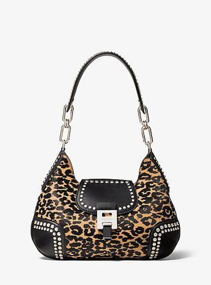 Michael Kors Bancroft Medium Leopard Calf Hair and Studded Leather Shoulder Bag - Lt Suntan