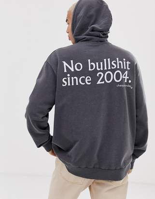 Cheap Monday hoodie in grey with back print