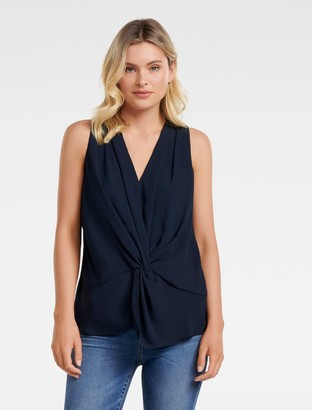 Forever New Ada Twist-Front Tank Top - Navy - 4