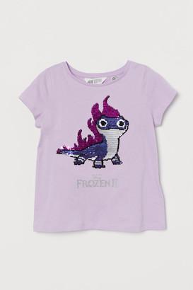 H&M Flip-sequin T-shirt - Purple
