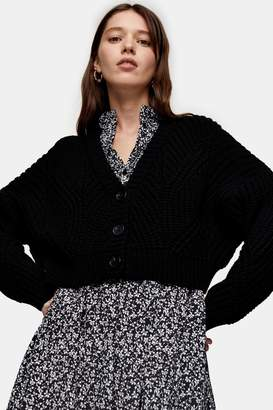 Topshop Womens Considered Black Crop Knitted Cardigan With Recycled Polyester - Black