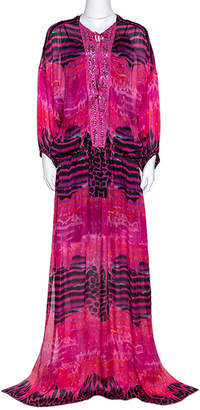Roberto Cavalli Pink Printed Silk Embellished Neckline Detail Maxi Dress L
