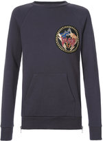 Balmain logo patch sweatshirt - men - Cotton/Brass/copper - S