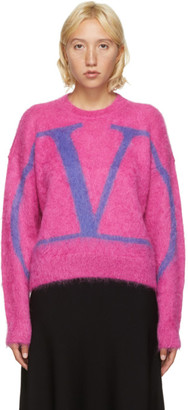 Valentino Pink Fluffy Mohair VLogo Sweater