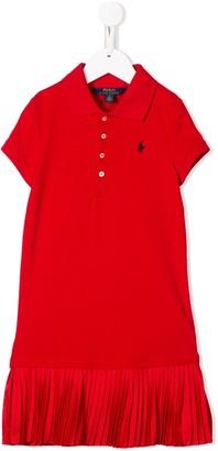 Ralph Lauren Kids pleated hem polo dress