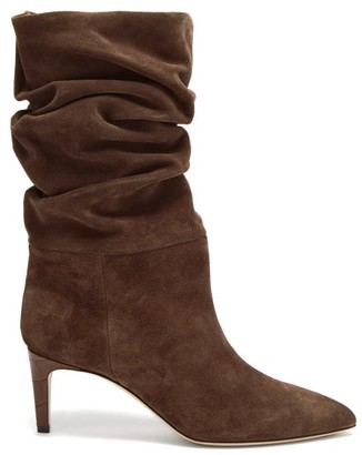Paris Texas Slouchy Suede Ankle Boots - Brown