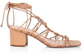 Schutz Amehlia Ankle-Wrap Leather Sandals