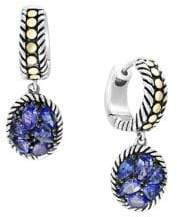 Effy 925 Sterling Silver, 18K Yellow Gold & Tanzanite Earrings
