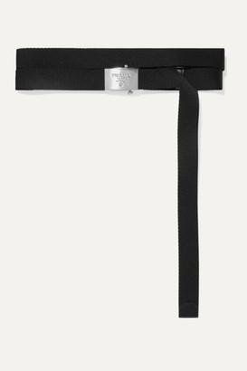 Prada Textured Leather-trimmed Canvas Belt - Black