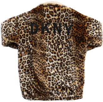 DKNY Leopard Print Faux Fur Coat