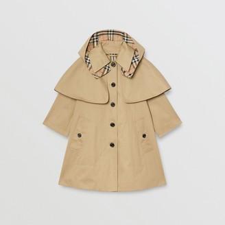Burberry Detachable Hood Water-resistant Cotton Swing Coat