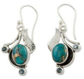 Novica Blue Topaz Earrings, 'Dew Blossom'