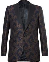 Favourbrook Navy Slim-Fit Grosgrain-Trimmed Jacquard Tuxedo Jacket