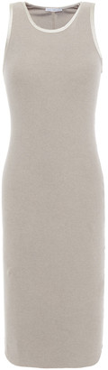 James Perse Satin-trimmed Ribbed Cotton-blend Jersey Dress