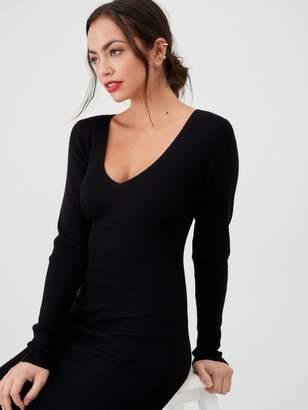 Very Skinny Rib V Neck Knitted Midi Dress - Black