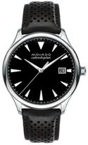 Movado Heritage Stainless Steel Perforated Leather Strap Watch