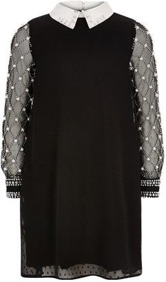 River Island Black Pearl Collar Dress