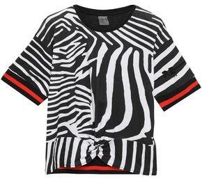 P.E Nation Twisted Flocked Zebra-print Cotton-jersey T-shirt