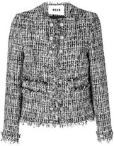 MSGM frayed edge fitted jacket