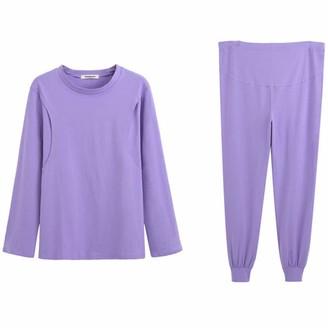 Gaga City Maternity Pyjamas Nursing Breastfeeding Clothes Pregnancy Sleepwear Cotton Tops and Pants Set Autumn Winter Women Nightwear for Labour Hospital Pajamas/L Purple