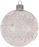 Christmas Shop 8CM BAUBLE GLASS SNOWFLAKE CLEAR