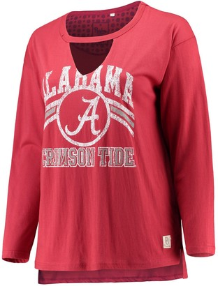 Women's Pressbox Crimson Alabama Crimson Tide Plus Size Scout Choker T-Shirt