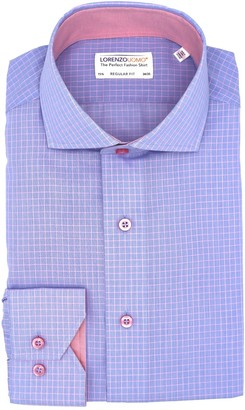 Lorenzo Uomo Textured Grid Print Regular Fit Dress Shirt